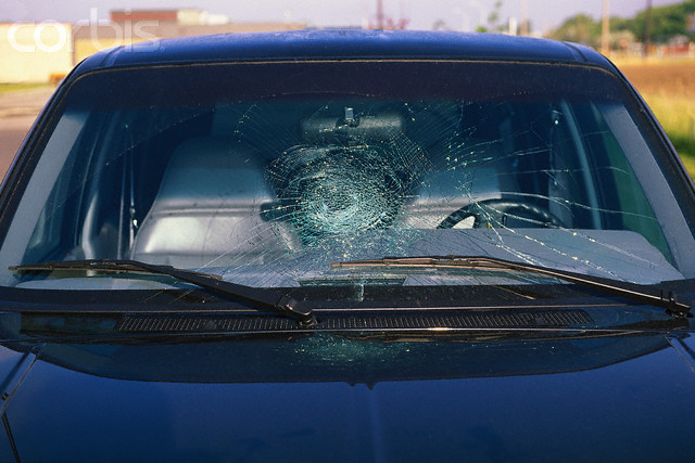 car's windshield is cracked: