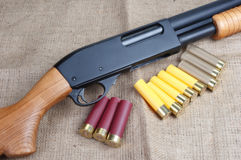 pump action shotgun with cartridges on canvas background